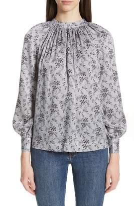 Co Floral Print Tie Back Silk Blouse