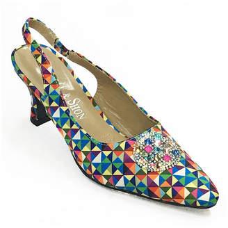 Whittall & Shon Womens Op Art Pumps Soft Toe Cone Heel