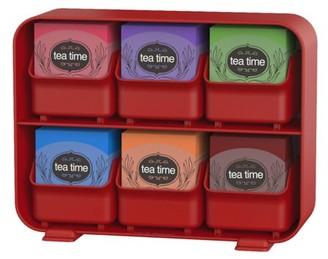 Mind Reader 6 Removable Drawers Tea Bag Holder Storage Organizer Red