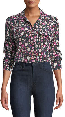 Equipment Slim Signature Button-Front Floral-Print Blouse