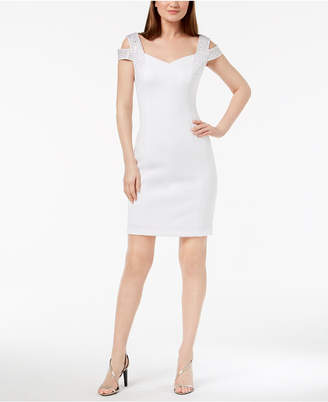 Calvin Klein Embellished Cold-Shoulder Sheath Dress