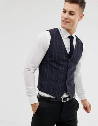 Selected Skinny Suit Vest In Check