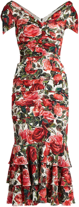 DOLCE & GABBANA Rose-print ruched silk-blend jersey dress $4,595 thestylecure.com