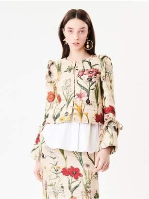 Oscar de la Renta Flower Harvest Textured Raw Silk Jacket