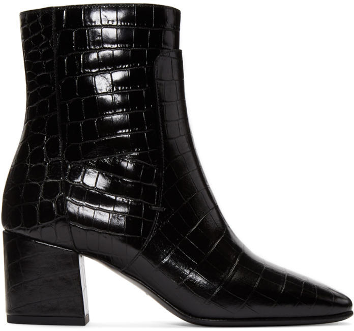 Givenchy Black Croc-Embossed Paris Boots