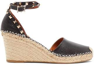 Valentino Rockstud Leather Espadrille Wedges - Womens - Black