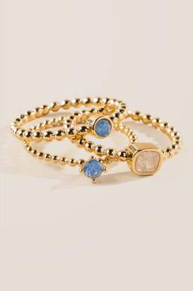 francesca's Bella Gold Ring Set - Turquoise
