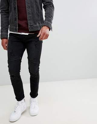 ONLY & SONS jeans in slim fit with distressed biker zip knee