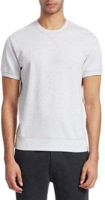 Brunello Cucinelli Heathered Short-Sleeve Cotton Sweatshirt