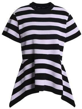 Proenza Schouler Asymmetric Striped Ponte Peplum Top