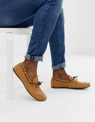 Asos Design DESIGN driving shoes in tan soft leather