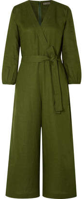J.Crew Fontana Belted Wrap-effect Linen Jumpsuit - Army green
