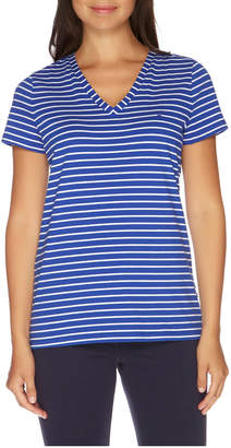 Nautica Stripe Short Sleeve V-Neck Tee Lapis Tide