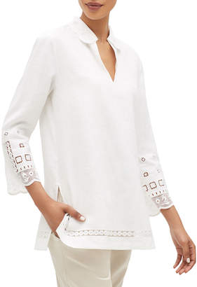 Lafayette 148 New York Esperanza V-Neck 3/4-Sleeve Summer Linen Blouse