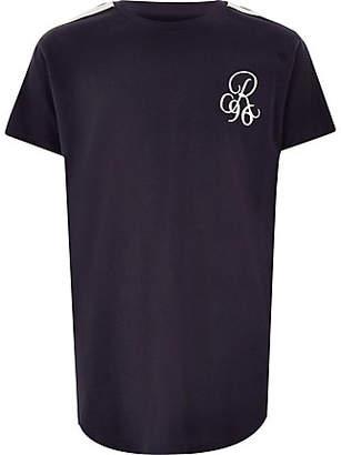 River Island Boys navy 'R96 curve hem T-shirt