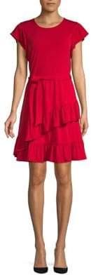 MICHAEL Michael Kors Ruffle Tie-Waist A-Line Dress
