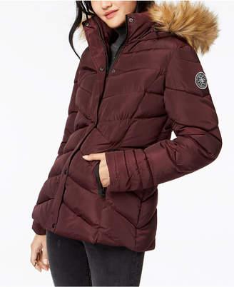 Madden-Girl Juniors' Faux-Fur-Trim Puffer Coat