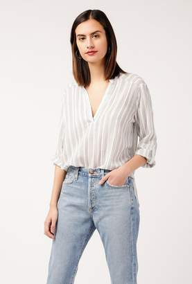 Azalea Striped Linen Henley Top