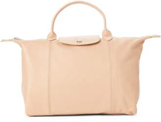 Longchamp Beige Le Pliage Cuir Medium Satchel