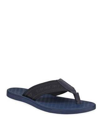 Giorgio Armani Men's Nylon-Web Thong Sandals, Blue
