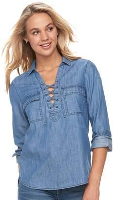 So Juniors' SO Lace-Up Chambray Utility Shirt