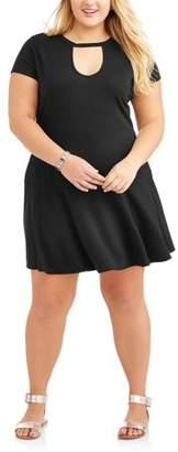 No Comment Junior's Plus Cap Sleeve Peplum T-Shirt Dress with Keyhole