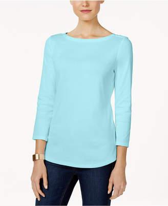 Charter Club Petite Pima Cotton Button-Shoulder Top