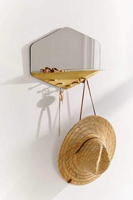 Hexagon Multi-Hook Mirror Shelf