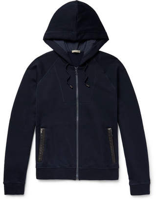 Bottega Veneta Intrecciato Leather-Trimmed Cotton And Wool-Blend Zip-Up Hoodie