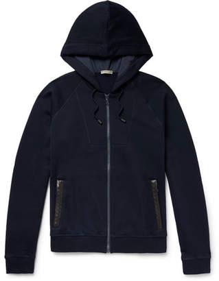 Bottega Veneta Intrecciato Leather-trimmed Cotton And Wool-blend Zip-up Hoodie
