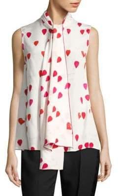 e85b957270f1f Alexander McQueen Silk Tie-Neck Petal Print Blouse