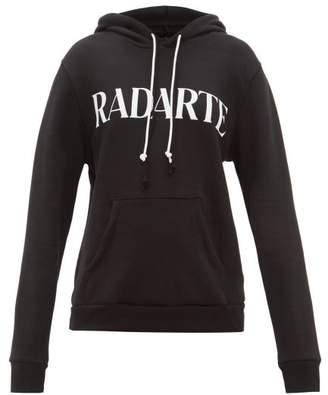 Rodarte Logo Print Cotton Blend Jersey Hooded Sweatshirt - Womens - Black White
