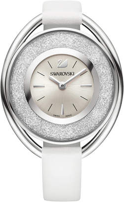Swarovski Women's Silver-Tone Crystalline Fabric Strap Watch 37mm