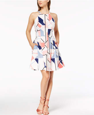 Vince Camuto Geo-Print Scuba Fit & Flare Dress