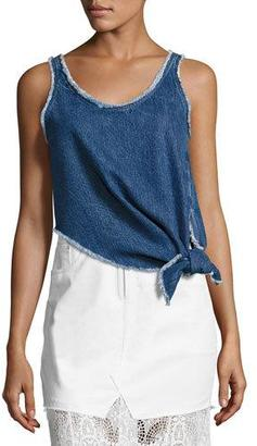 McQ Alexander McQueen Sleeveless Knotted Denim Boxy Top, Blue $195 thestylecure.com
