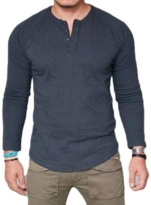 80425d272e3 Wenko Joe JWK Men s Basic Long Sleeve Stretchy Solid Round Neck Top T Shirts  Large
