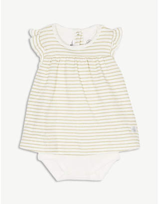 Petit Bateau Stripe cotton-blend bodysuit dress 1-12 months
