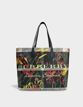 Burberry Large Doodle Tote Bag in Black, Transparent and Black Coated Canvas