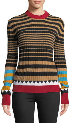 Double J Camello Multi-Striped Crewneck Wool Sweater
