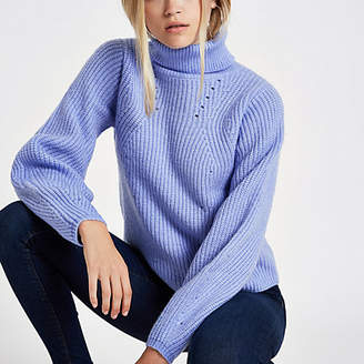 River Island Light blue knitted roll neck sweater