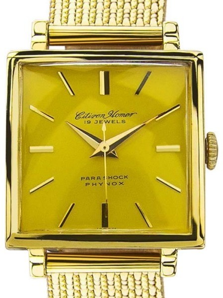 CitizenCitizen Homer Yellow Dial Gold Plated Japanese Manual Mens Watch 1960