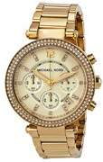 Michael Kors Women's Parker Chronograph Gold-Tone Stainless Steel Watch