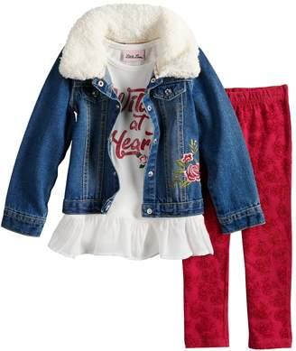 """Little Lass Baby Girl Wild At Heart"""" Peplum Tee, Jean Jacket & Velvet Leggings Set"""