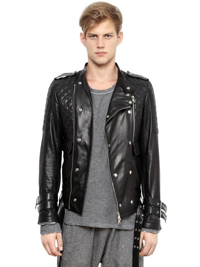 Balmain Quilted Leather Biker Jacket