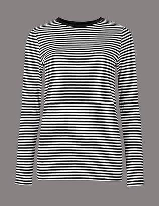 Marks and Spencer Pure Organic Cotton Striped Long Sleeve Top