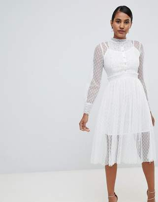 TFNC long sleeve lace midi dress with pleat detail