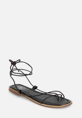 Missguided Black Skinny Strap Flat Sandals