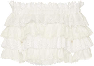 Dolce & Gabbana Tiered Ruffle Off-The-Shoulder Lace Top