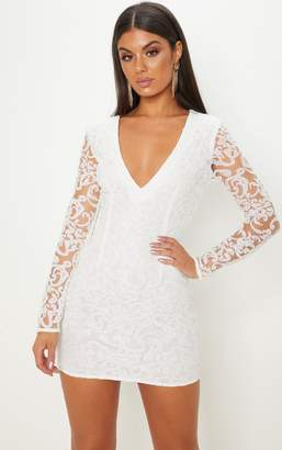 PrettyLittleThing White Glitter Plunge Long Sleeve Bodycon Dress