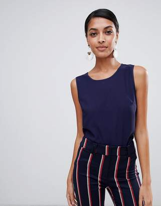 Warehouse Satin Shell Blouse In Navy